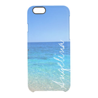 Ocean beach add name wanderlust travel hipster clear iPhone 6/6S case