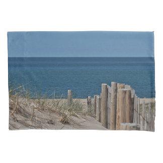 Ocean beach and beach fence pillowcase