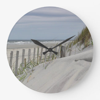 Ocean beach and sand dunes large clock