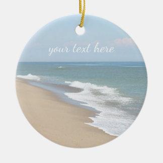 Ocean beach and waves ceramic ornament