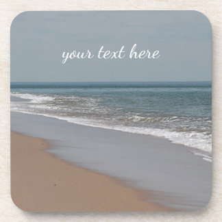 Ocean beach and waves drink coasters