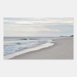 Ocean beach and waves in autumn rectangular sticker