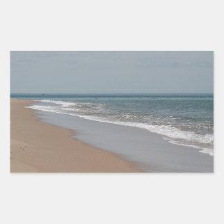Ocean beach and waves rectangular sticker
