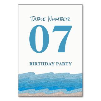 Ocean Beach Birthday Party Table No. Card