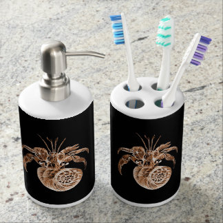 Ocean beach coastal nautical fish black soap dispenser and toothbrush holder