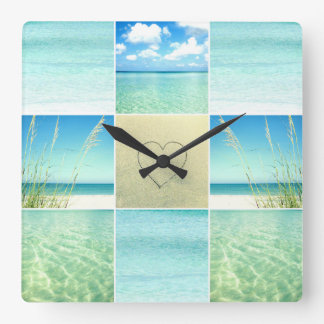 Ocean Beach Collage Wall Clock