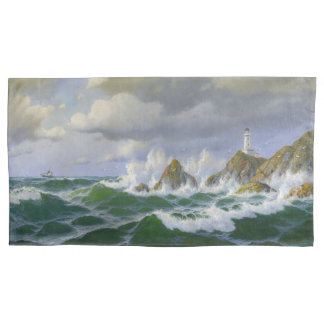 Ocean Beach Lighthouse Wave Rocky Shore Pillowcase