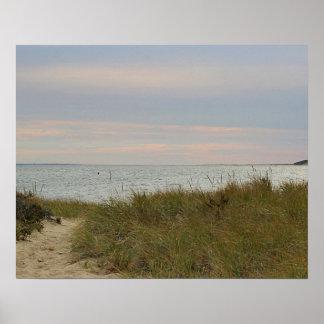 Ocean beach near sunset poster