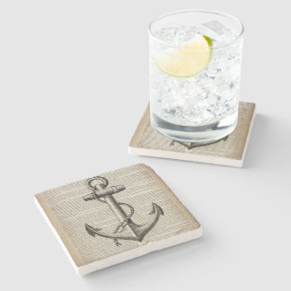 ocean beach  sailor vintage nautical anchor stone coaster
