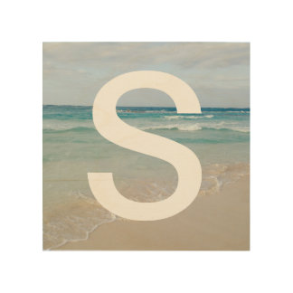 Ocean Beach Scene and Initial Letter Wood Wall Art