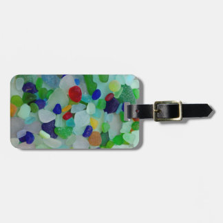 Ocean, beach, sea glass, beach glass luggage tag