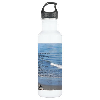 "Ocean beach with poem ""Gifts of a Day"" 710 Ml Water Bottle"