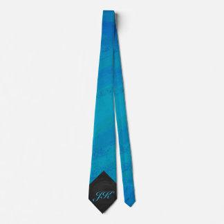 Ocean Blue and Black Monogram Tie