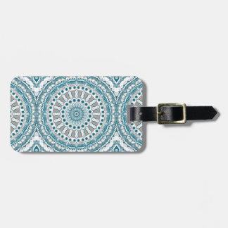Ocean Blue and White Nautical Mandala Design Luggage Tag