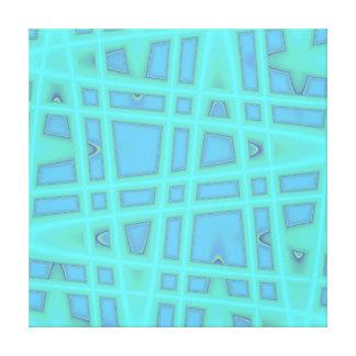 Ocean Blue Baby Blue Modern Geometric Wave Pattern Canvas Print