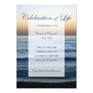Ocean Blue Celebration of Life Memorial Invitation