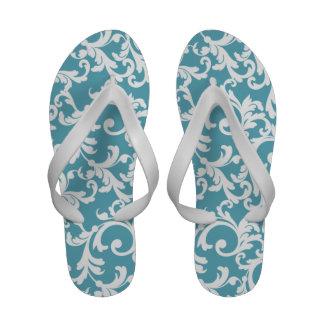 Ocean Blue Damask Print Flip Flops