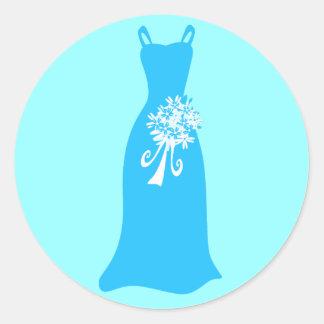 Ocean Blue Dress with Bouquet Round Sticker