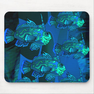 OCEAN BLUE FISH MOUSE PAD