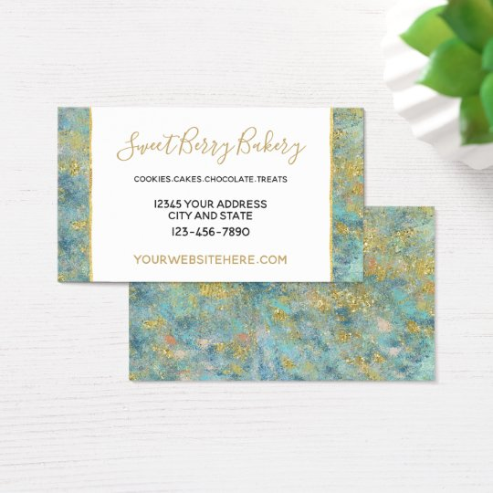 Ocean Blue Gold Abstract Business Card