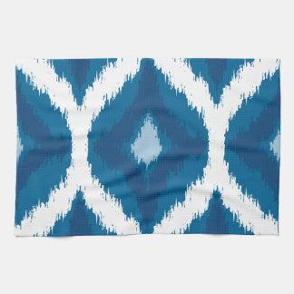 Ocean Blue Ikat Modern Ethnic Geometric Print Kitchen Towels