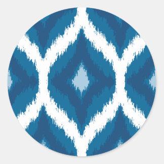 Ocean Blue Ikat Modern Ethnic Geometric Print Round Sticker