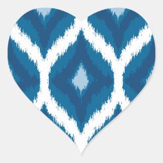 Ocean Blue Ikat Modern Ethnic Geometric Print Heart Sticker