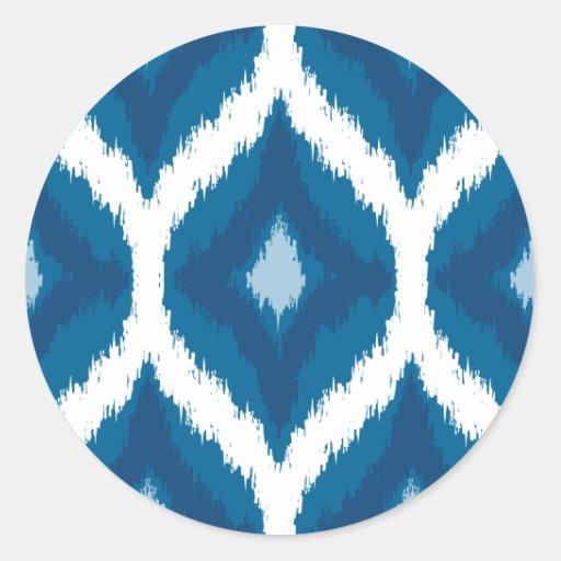 Ocean Blue Ikat Modern Ethnic Geometric Print Stickers