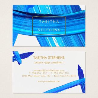 Ocean Blue Impasto Brushstrokes Designer Business Business Card