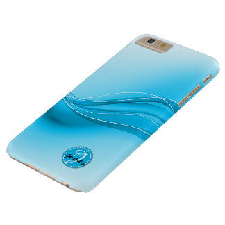 Ocean Blue Modern Waves Monogram Barely There iPhone 6 Plus Case