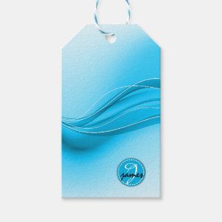 Ocean Blue Modern Waves Monogram Gift Tags
