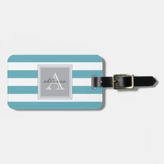 Ocean Blue Monogrammed Awning Stripe Luggage Tag