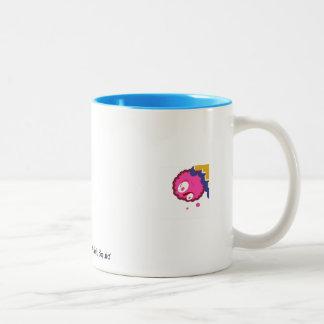 Ocean Blue Mug With Shrimpy Electric Pink Squid.