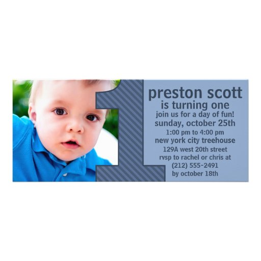 Ocean Blue One Is Fun Photo First Birthday Party Custom Invites