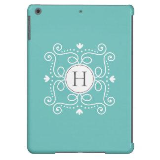 Ocean blue ornament personalized monogram initial iPad air covers
