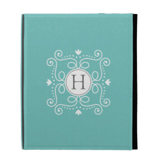 Ocean blue ornament personalized monogram initial iPad case