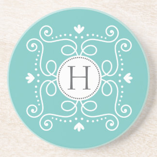 Ocean blue ornament personalized monogram initial drink coaster
