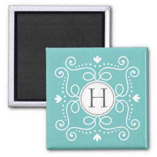 Ocean blue ornament personalized monogram initial fridge magnets