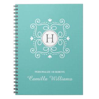Ocean blue ornament personalized monogram initial notebook