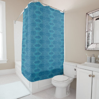 Ocean Blue Patterned Shower Curtain