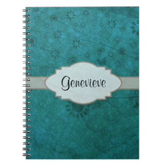 Ocean Blue Retro Floral Abstract Nameplate Notebook