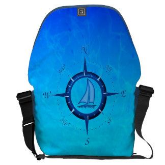 Ocean Blue Sailboat And Compass Rose Messenger Bags
