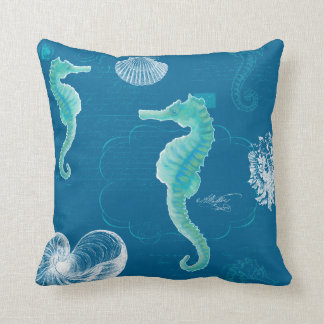 Ocean Blue Seahorse Vintage Handwriting Scrolls Throw Pillow