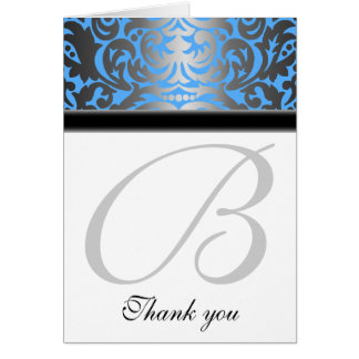 Ocean Blue Shimmer Damask Thank You Note Card