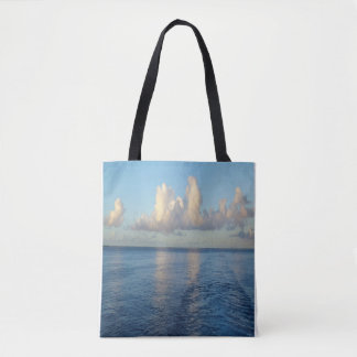 Ocean Blue Sky Clouds Tote Bag Purse