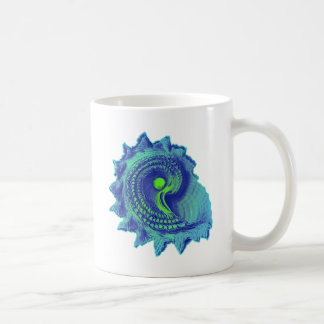 Ocean Blue Spiral Sea Shell Coffee Mug