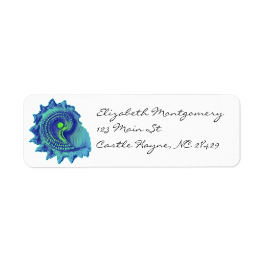 Ocean Blue Spiral Sea Shell Labels