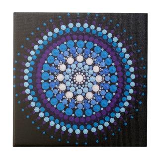 Ocean Blue Splashing Wave Mandala Tile