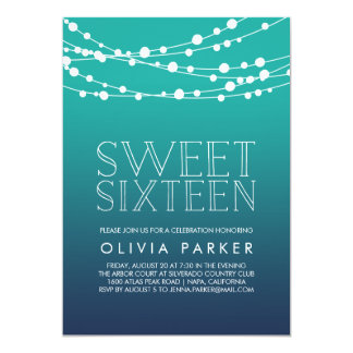 Ocean Blue String Lights Sweet Sixteen Invitation