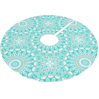 Ocean Blue Turquoise Medallion Brushed Polyester Tree Skirt